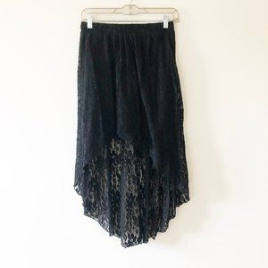 Forever 21 Black Lace High Low Skirt